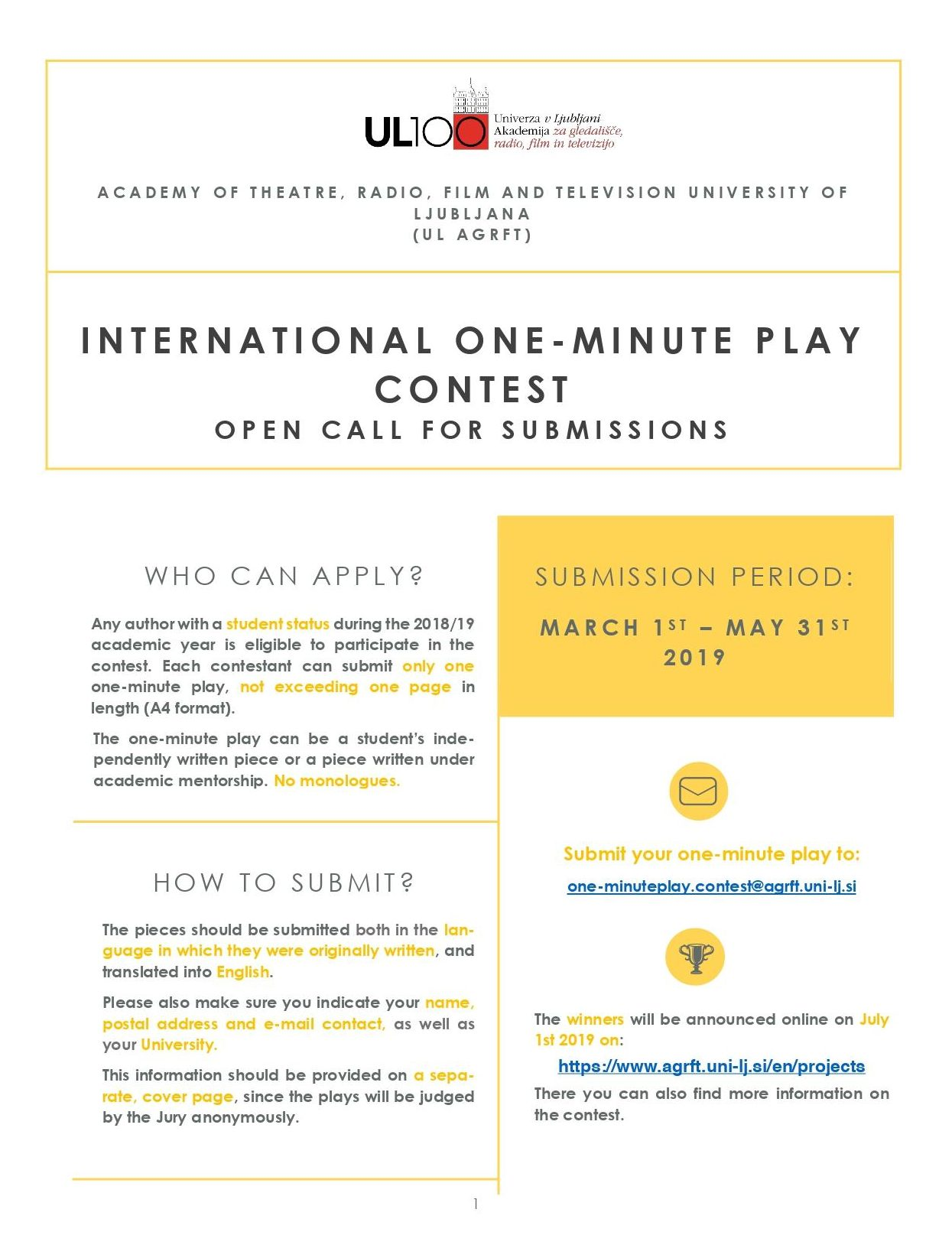 INTERNATIONAL ONE-MINUTE PLAY CONTEST - OPEN CALL FOR SUBMISSIONS